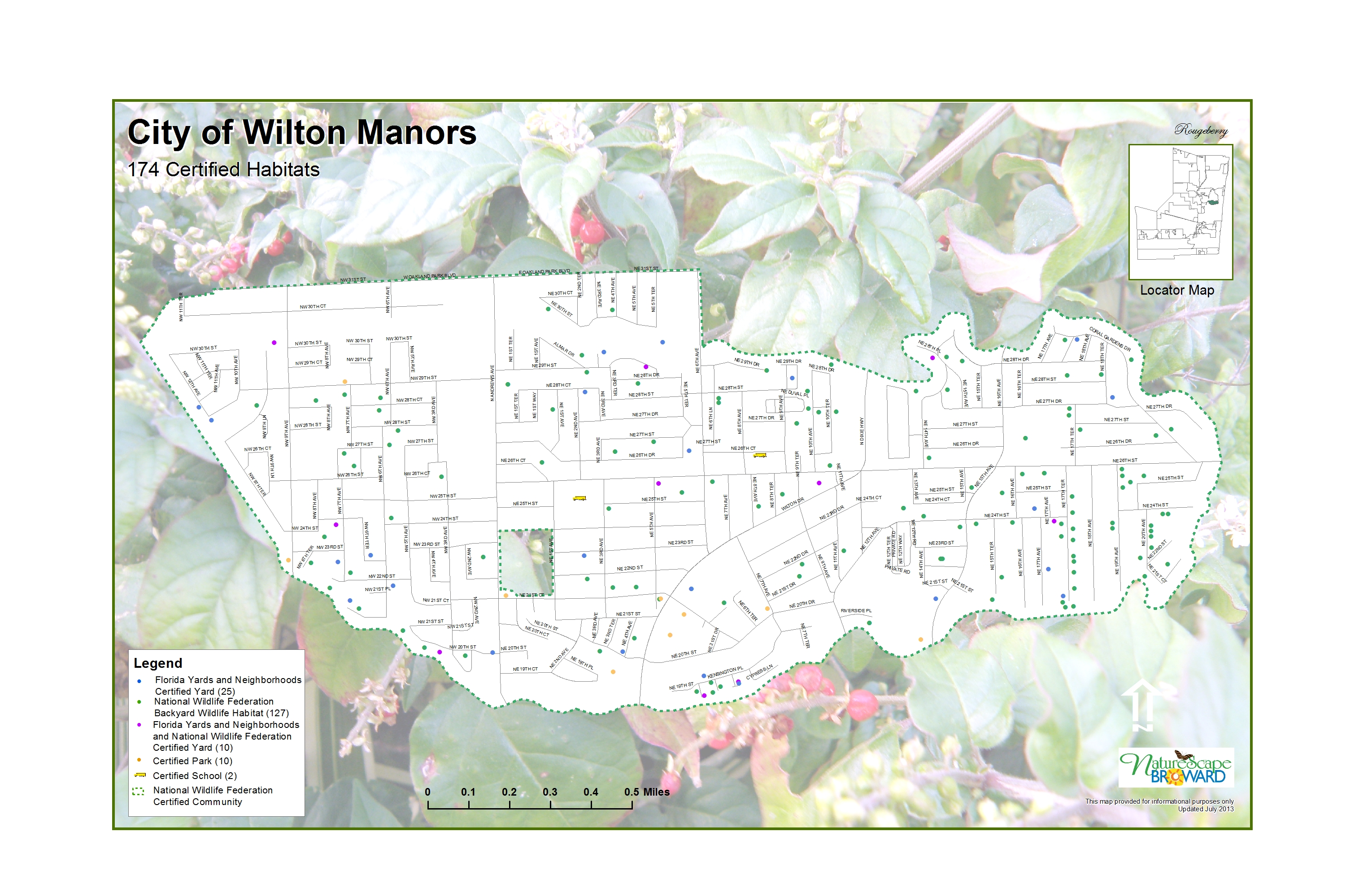 Wilton Manors Habitats 2013 - Island city                         is the 17th City in the Nation to be designated                         as a Certified Wildlife Habitat