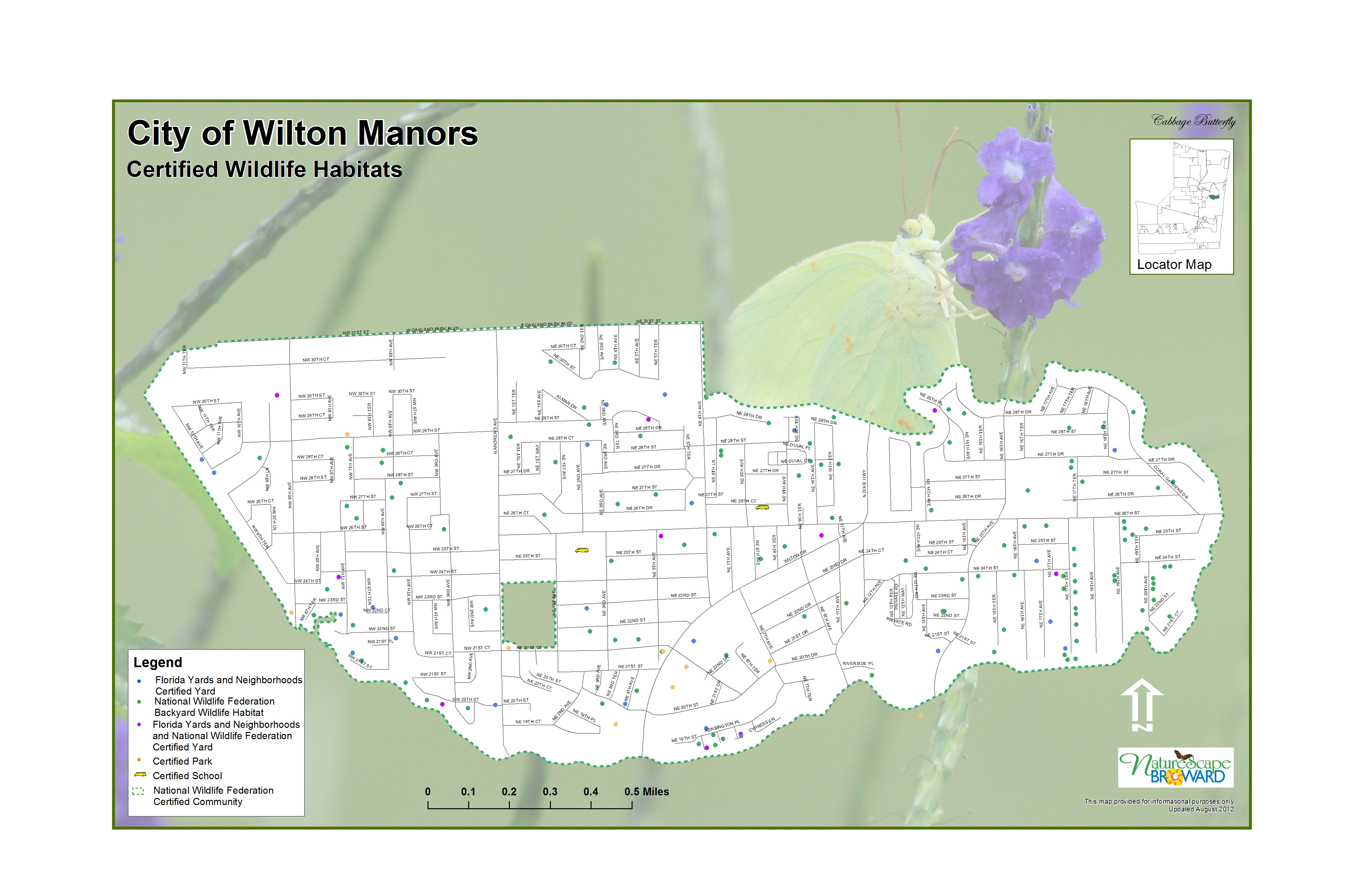 Wilton Manors Habitats 2012 - Island city                         is the 17th City in the Nation to be designated                         as a Certified Wildlife Habitat